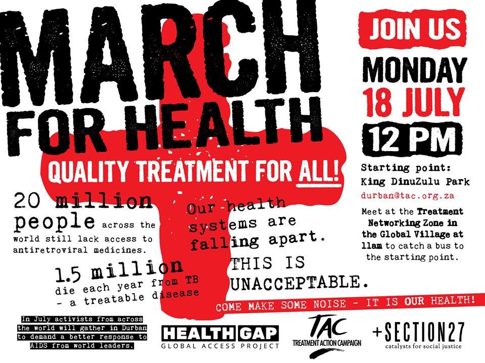 """Poster convocando a la marcha por el """"Tratamiento para todos"""""""