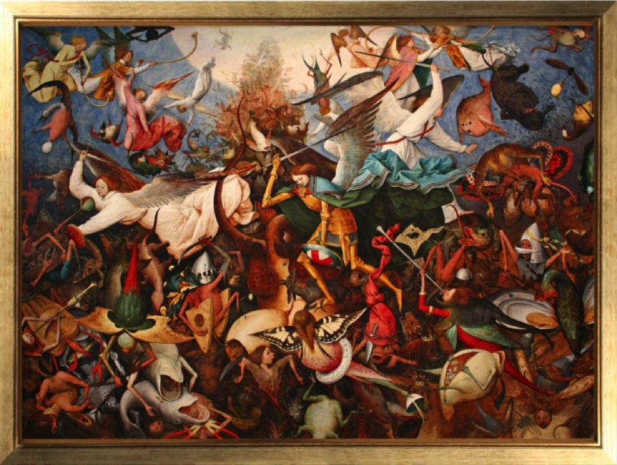 """Pieter Brueghel el Viejo. """"La caída de los ángeles rebeldes"""" (1562, óleo sobre tabla, 117 x 162 cm, Musées Royaux des Beaux-Arts, Bruselas"""